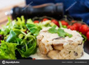 arroz con setas y nata vegana