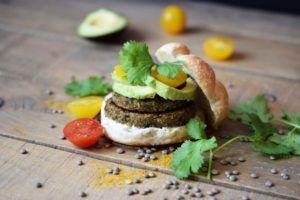 hamburguesas de lentejas y verduras veganas