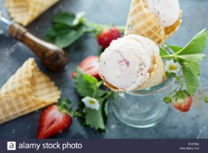 helado de fresa vegano
