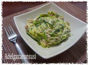 pasta con calabacin y nata vegana