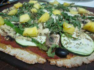 pizza vegana con harina de garbanzo