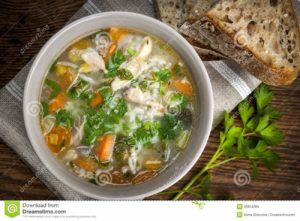 sopa de arroz con verduras